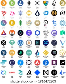 Cryptocurrency logo. Collected the main 64.
