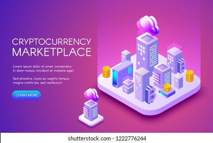 Cryptocurrency marketplace illustration of bitcoin mining farm in smart city for blockchain technology. Digital cloud network for crypto currency concept on purple ultraviolet background