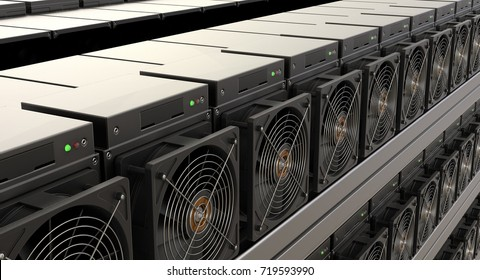 Cryptocurrency mining farm, 3D rendering