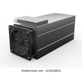 Cryptocurrency mining farm. bitcoin and altcoins mining. asic miner. 3D rendering