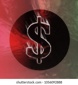 Cryptocurrency or money icon. Fast-moving dollar symbol on a circular token. Abstract illustration with glassy painted effect.