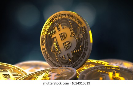 Cryptocurrency. Mountain of coins. A lot of coins