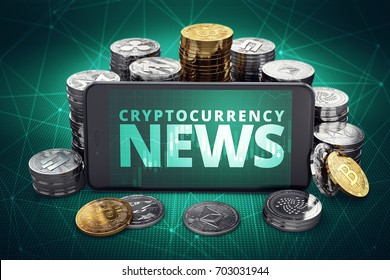 Cryptocurrency news text on smartphone screen surrounded by piles of different crypto coins. Title screen for recent cruptocurrency news. 3D illustration