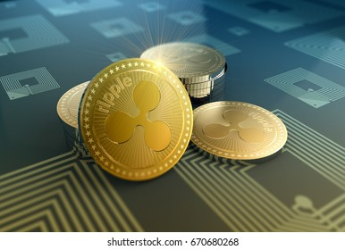 Crypto-currency Ripple in blurred close up 3D Illustration concept