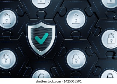 Cryptographic Cybersecurity. 3D rendering graphics on the subject of 'Modern Digital Technologies'.