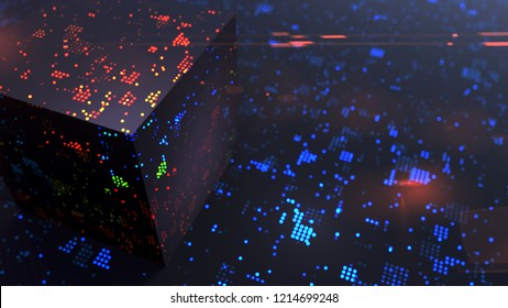 Cryptography and big data modern communication technology 3D illustration concept