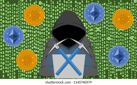 Cryptojacking and crypto mining concept, computer hacker with hoodie and lines of digital script code as background image. Cryptocurrency Market Manipulation. Cybersecurity education.