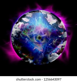 Crystal ball with all seeing eye. 3D rendering
