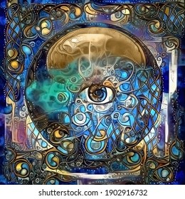Crystal ball with all seeing eye. Abstract painting. 3D rendering