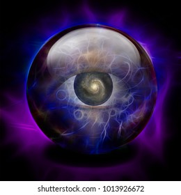 Crystal Ball with Eye and Galaxy. 3D rendering