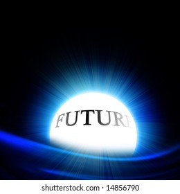 crystal ball with 'future' on a black background
