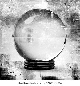crystal ball in grunge style illustrations, for future prediction concepts.