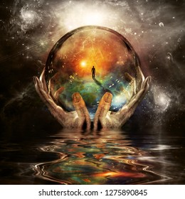 Crystal ball in hands of God. Endless space. 3D rendering