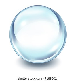 Crystal ball transparent glass sphere on a white background with a shadow and blank area as a symbol of the future and paranormal predictions of things to come in finances and personal fortune.