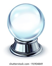 Crystal ball transparent glass sphere with a blank area and a chrome metal base on white as a symbol of the future and paranormal predictions of things to come in finances and personal fortune.