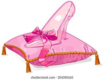Crystal Cinderella slipper on pink pillow. Raster version.