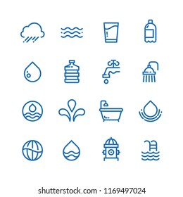 Crystal clean water drops, fresh drinks and hygiene line icons. Water drop and drink pure illustration