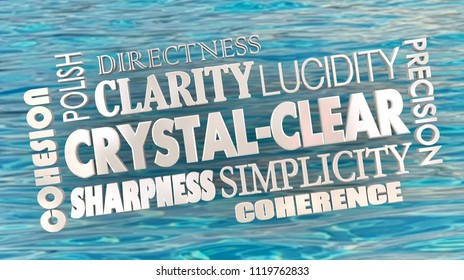 Crystal Clear Clarity Concise Communication Word Collage 3d Illustration