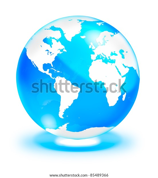 Map Of The World Clear.Crystal Clear Globe World Map Isolated Stock Illustration 85489366