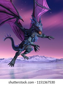 A crystal dragon is descending onto a frozen lake - 3D render.