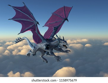 A crystal dragon flying above the clouds - 3D render.