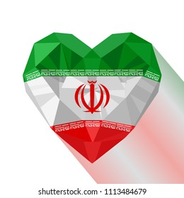 Crystal gem jewelry Iranian heart with the flag of the Islamic Republic of Iran. Flat style logo symbol of love Persia.  Western Asia. Victory of the Islamic Revolution.