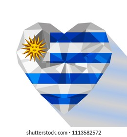 Crystal gem jewelry Uruguayan heart with the flag of the Oriental Republic of Uruguay. Flat style logo symbol of love Uruguay. South America.