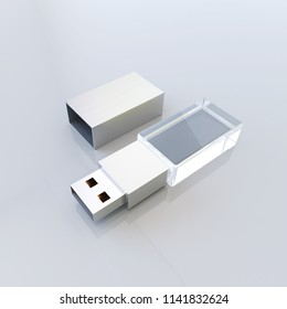Crystal glass USB flash , pen drive, memory disc. 3d rendering