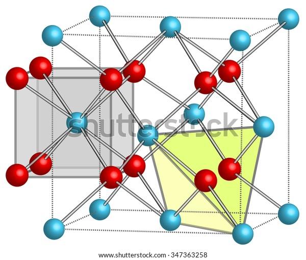 Crystal Lattice Caf2 Calcium Fluoride Stock Illustration