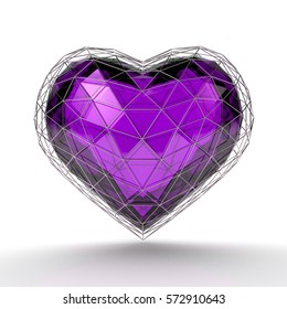 Crystal purple heart in metallic low-poly grid. Valentine's day. 3d rendering