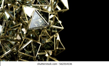 The crystal pyramid in gold frame, isolated on black background. 3d rendering