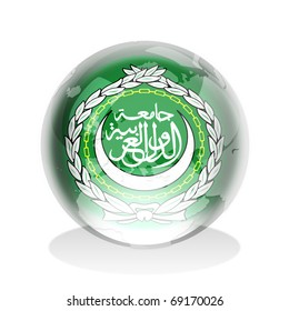 Crystal sphere of Arab League flag with world map
