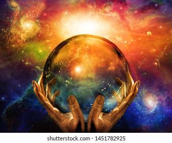 Crystal sphere in hands of creator. 3D rendering