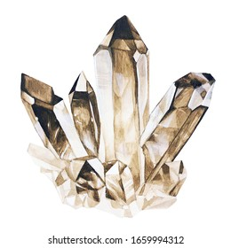 Crystal watercolor illustration. Smoky quartz on white background