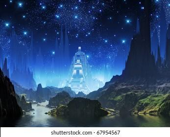 Crystalline Alien City of Blue Light
