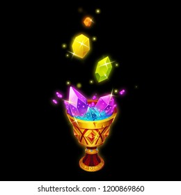 The Crystals Are Dissolving in the Holy Grail. Game Assets, Card Object isolated on White or Black Background. Video Game's Digital CG Artwork, Concept Illustration, Realistic Cartoon Style Character