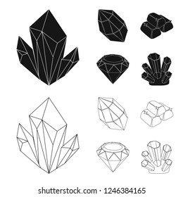 Crystals, minerals, gold bars. Precious minerals and jeweler set collection icons in black,outline style bitmap symbol stock illustration web.