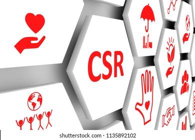 CSR concept cell background 3d illustration