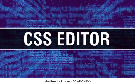 CSS editor with Digital java code text. CSS editor and Computer software coding vector concept. Programming coding script java, digital program code with CSS editor on screen illustration