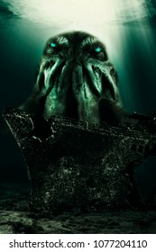 Cthulhu monster from the deep of the sea, shipwreck in the first plan. Photo manipulation, 3D illustration