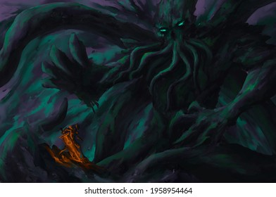 Cthulhu,Cosmic monster, sea monster,strom bad weather ,digital art, Illustration painting.