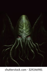 Cthulhu/Illustration of a monster inspired by H.P. Lovecraft