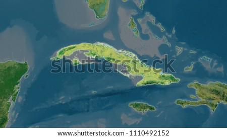 Cuba Area Map Azimuthal Equidistant Projection Stock Illustration