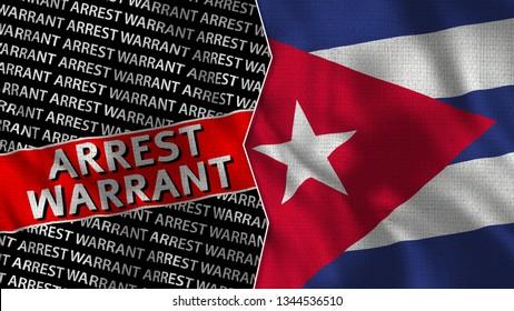 Cuba and Arrest Warrant Titles Flag Together - 3D illustration Fabric Texture