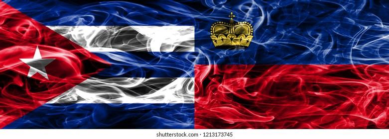 Cuba, Cuban vs Liechtenstein, Liechtensteins smoke flags placed side by side. Concept and idea flags mix