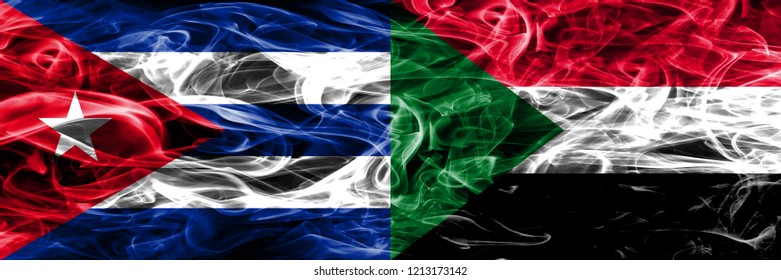 Cuba, Cuban vs Sudan, Sudanese smoke flags placed side by side. Concept and idea flags mix
