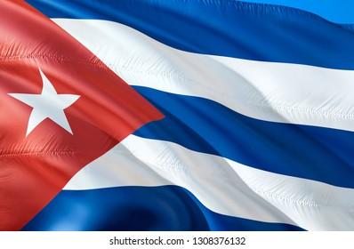 Cuba flag. 3D Waving flag design. The national symbol of Cuba, 3D rendering. The national symbol of Cuba background wallpaper. South America flag 3D ribbon, wallpaper, pattern background