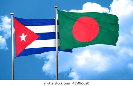 Cuba flag with Bangladesh flag, 3D rendering