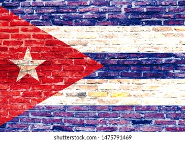 Cuba flag painted in the style of graffiti on a brick wall
