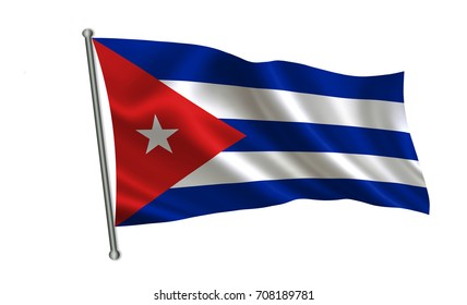 """Cuba flag.  A series of """"Flags of the world.""""  ( The country - Cuba flag )"""